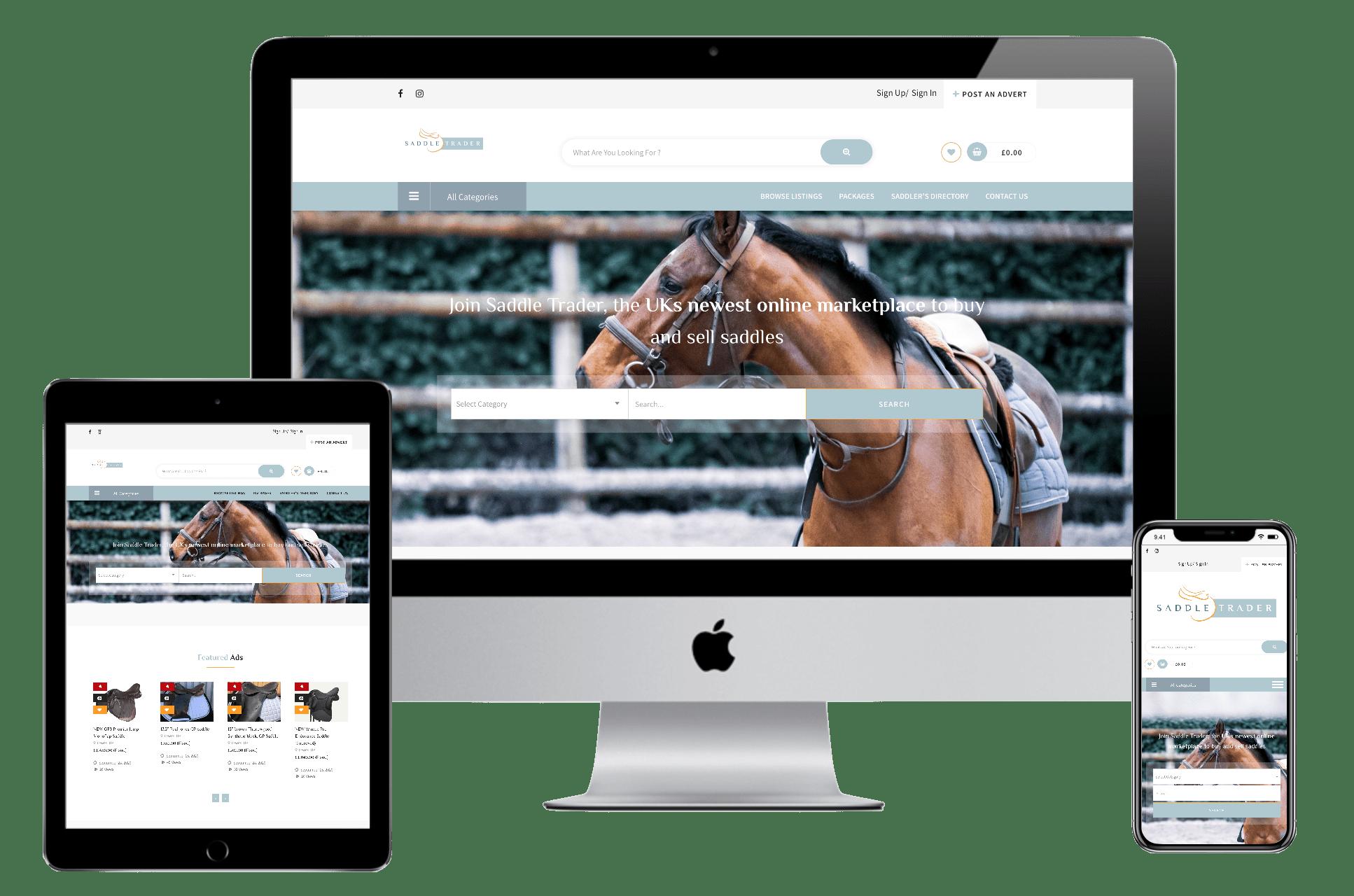 saddle trader equestrian website design