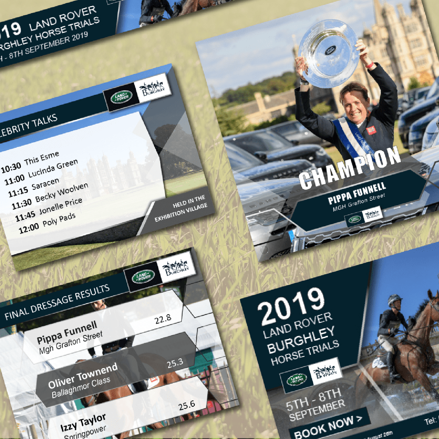 photo mix of results from 2019 Land Rover Burghley Horse Trials
